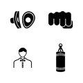 Boxing. Simple Related Vector Icons