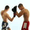 Boxing two men with glove fighting Stock Photo