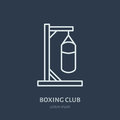 Boxing vector line icon. Punching bag logo, equipment sign. Sport competition illustration