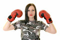 Boxing woman isolated on white background Royalty Free Stock Image