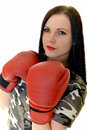 Boxing woman isolated on white background Royalty Free Stock Photo