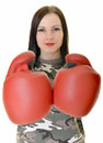 Boxing woman isolated on white background Royalty Free Stock Images