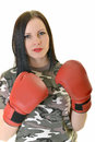 Boxing woman isolated on white background Stock Images