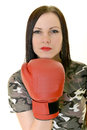 Boxing woman isolated on white background Royalty Free Stock Photography