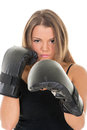 Boxing woman portrait of young beautiful girl standing with a guard ready to punch Stock Photography
