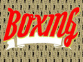 Boxing word logo with white ribbon on a background with gloves and boxer Royalty Free Stock Photography