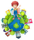 A boy above the planet earth illustration of on white background Stock Photos