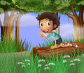 A boy above a trunk of a tree illustration Royalty Free Stock Images