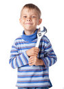 Boy with adjustable spanner Stock Photos