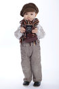 Boy with aged retro camera Royalty Free Stock Photo