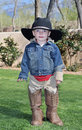 Boy in alligator boots Royalty Free Stock Photo