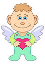 Boy-angel with red heart Stock Images