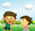 A boy annoying a little girl illustration of Stock Image
