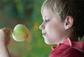 Boy with a apple in his hand and green grass in the background Royalty Free Stock Image