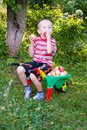 Boy with apples Royalty Free Stock Photo