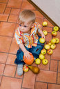 Boy with apples Royalty Free Stock Images