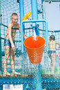 Boy in aqua park Royalty Free Stock Photo