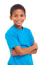 Boy arms crossed portrait of african with over white background Stock Photos