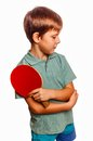 Boy athlete upset in table tennis player with Royalty Free Stock Photo