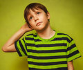 Boy baby thinks kid looking disheveled thoughts Royalty Free Stock Photo