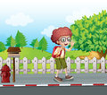 A boy with a backpack walking near the mailbox illustration of Royalty Free Stock Photos