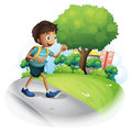A boy with a bag walking along the street illustration of on white background Royalty Free Stock Photos