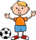 Boy with ball cartoon illustration of cute little football Stock Photo