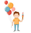 A boy with balloons and ice cream Royalty Free Stock Photo