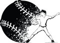 Boy baseball pitcher with splatter baseball black and white illustration of a pitching a a design behind him Royalty Free Stock Images