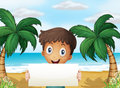 A boy at the beach holding an empty signage with a smile illustration of Stock Photo