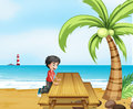A boy at the beach with a wooden table near the coconut tree illustration of Royalty Free Stock Photo