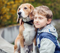 Boy with beagle portrait Royalty Free Stock Photo