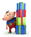 Boy behind pile of presents Stock Images