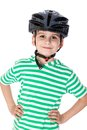 Boy bicyclist with helmet isolated on white Stock Image