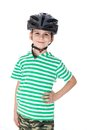 Boy bicyclist with helmet isolated on white Royalty Free Stock Photos