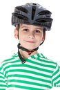 Boy bicyclist with helmet isolated on white Royalty Free Stock Image