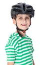 Boy bicyclist with helmet isolated on white Royalty Free Stock Images