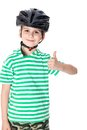 Boy bicyclist with helmet isolated on white Stock Photo