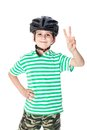 Boy bicyclist with helmet isolated on white Stock Images