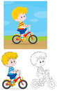 Boy bicyclist little riding a bike on rural road three versions of the illustration Royalty Free Stock Photos