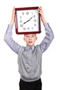 Boy with big clock surprised isolated on the white background Royalty Free Stock Photos