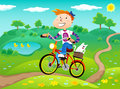 Boy on the bike nature landscape background summer time Stock Photos