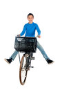 Boy on a bike teenage white background Stock Image