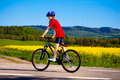 Boy biking cycle lane Royalty Free Stock Images