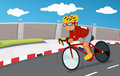 A boy biking with his safety gears illustration of Royalty Free Stock Photo