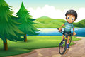 A boy biking near the pine trees at the riverside illustration of Stock Photography