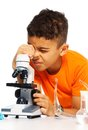 Boy and biology class Royalty Free Stock Photo