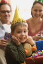 Boy at birthday party. Stock Image