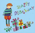 Boy with birthday present Royalty Free Stock Images