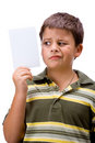 Boy with blank card 2 Royalty Free Stock Photo